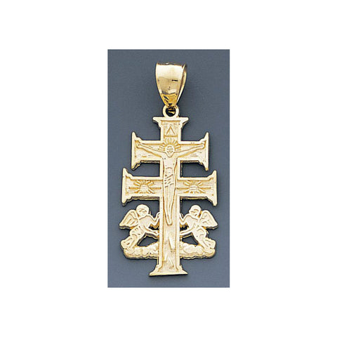 Fine 14k Gold High Polished 18mm Caravaca Crucifix Pendant