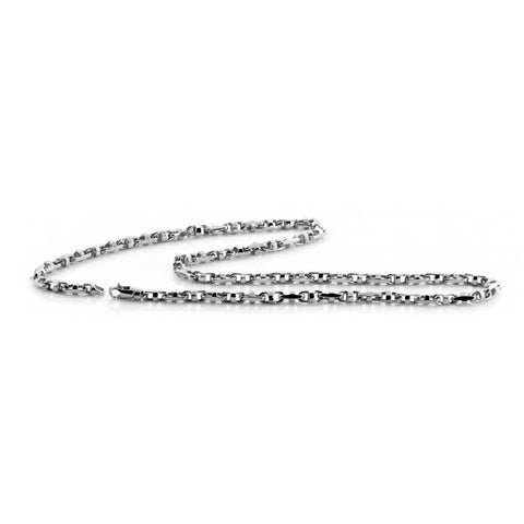 "Solid 10K White Gold 3.2 mm Fancy Hand Made Chain Necklace Size 16""- 30"""
