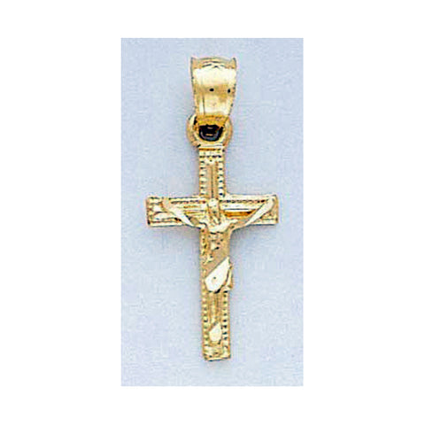 Fine 14K Yellow Gold Diamond Cut Crucifix Pendant
