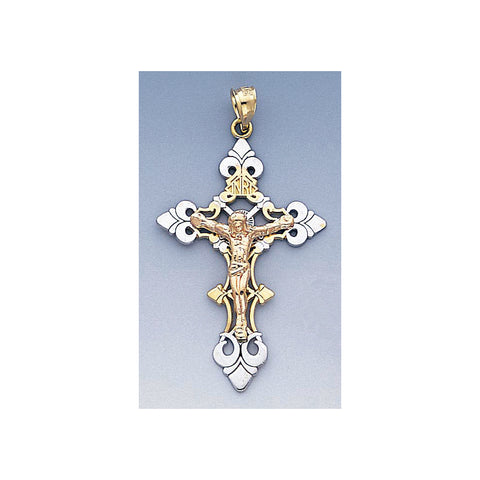 Fine 14k Gold Three Color Gold Crucifix Pendant