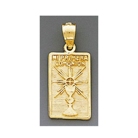 Fine 14K Yellow Gold High Polished My First Communion Pendant 4857