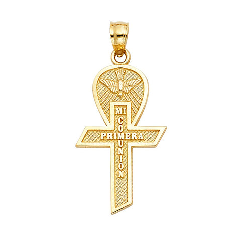 Fine 14K Yellow Gold Polished My First Communion Cross Pendant