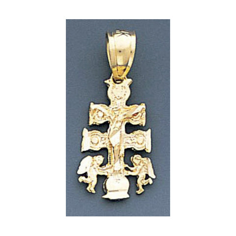 Fine 14K Yellow Gold Diamond Cut Cara Vaca Crucifix Pendant