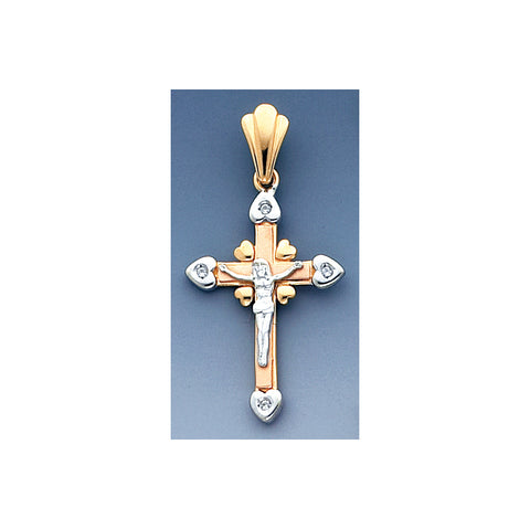 Fine 14K Tri-Color gold Cross High Accented With Synthetic Diamonds