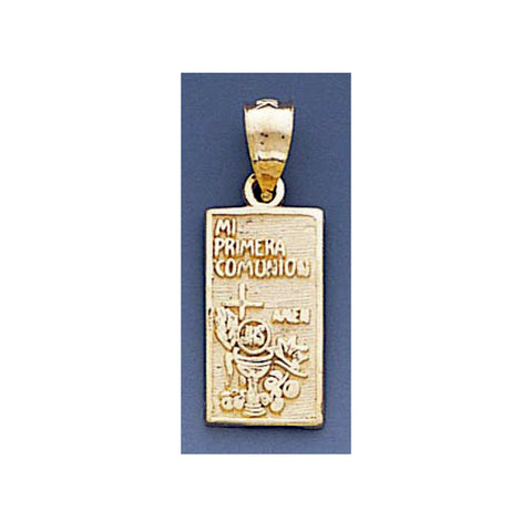 Fine 14K Yellow Gold High Polished My First Communion Pendant