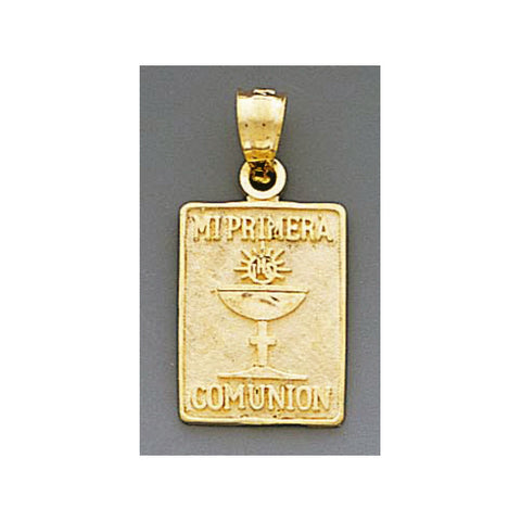 Fine 14K Yellow Gold High Polished My First Communion Pendant 4858