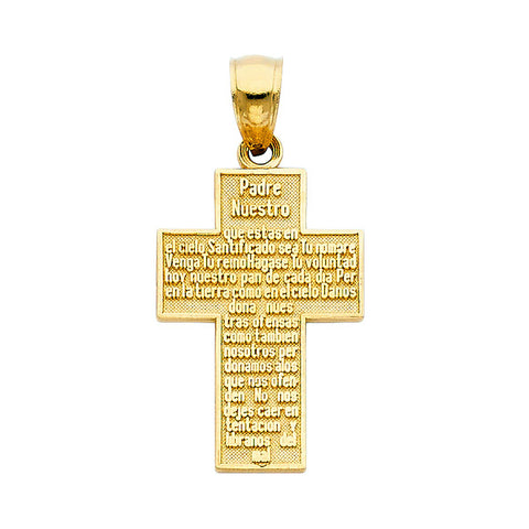 Fine 14K Yellow Gold High Polished Lord's Prayer Cross Pendant 15mm