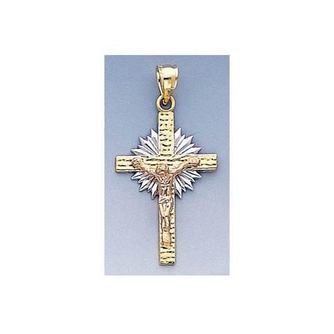 Fine 14k Gold Yellow and Red Gold Crucifix Pendant 18mm W X 36mm H