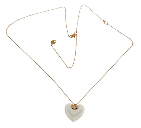 "Auth DAMIANI D-Icon Ceramic 18K Gold Diamond Heart Necklace Size 20"" $1728"