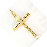 Fine 14K Yellow Gold Hollow Crucifix Crass Pendant 31 mm To 68 mm High