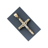 Fine 14k Gold Hollow Two-tone Crucifix  With Jesus cross Pendant