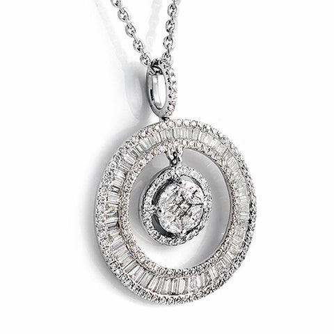 "1.46 CT Baguette & Round Diamonds 18K Gold Circle of Life  Necklace Size 18""»N18"