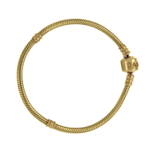 Authentic PANDORA 14K Yellow Gold Barrel Snap Clasp Bracelet  6.5 inches »BO3