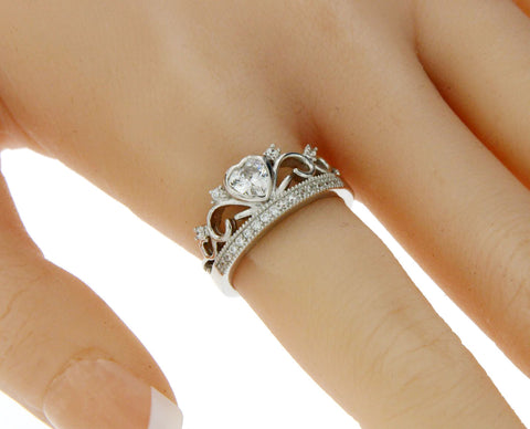 ▌Women's 925 Sterling Silver Heart CZ Crown Ring Size 5,6,7,8,9,10 »R12/9