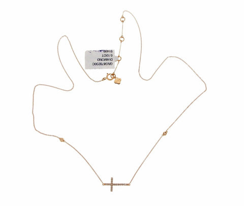 "0.12 CT Diamonds 18K Rose Gold Sideways Cross Pendant Necklace Size 16""-18""»U44"