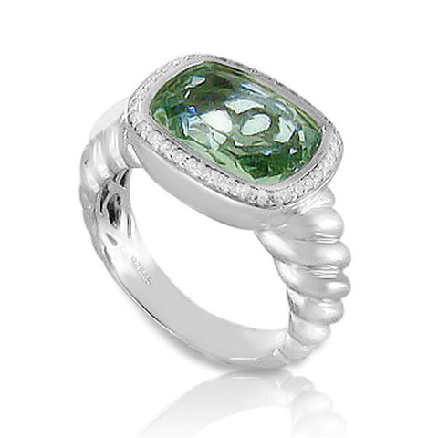 Solid Sterling silver Diamond & Lab Green Topaz Designer Engagement Ring »R32