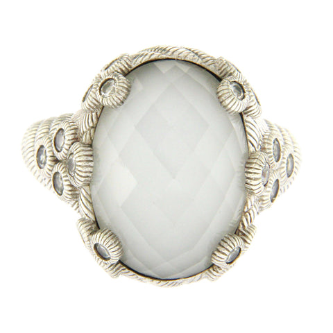 JUDITH RIPKA 925 Sterling Silver White Doublet & Diamonique Ring Size 8 »U25