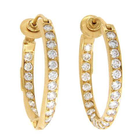 "H Stern 18K Yellow Gold 4.85 CT Diamonds 1.12"" Hoop Earrings"