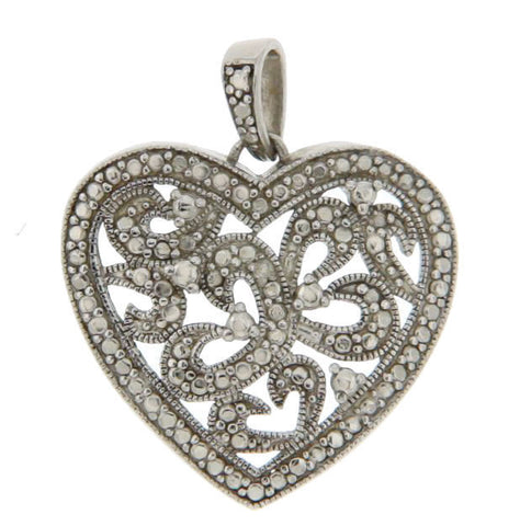 ¦925 Sterling Silver Heart Pendant »P420 ANTIQUE DESIGN!