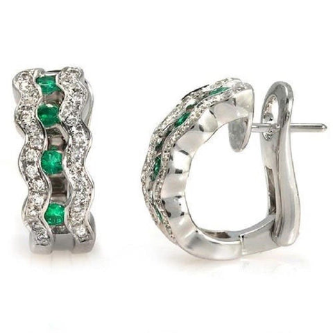 0.80 CT Natural Emerald & 0.82 CT Diamonds in 18K White Gold Huggie Earrings