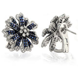 18K Gold Diamonds & Invisible Set 14.28 CT Blue Sapphire Flower Earrings »BL2560