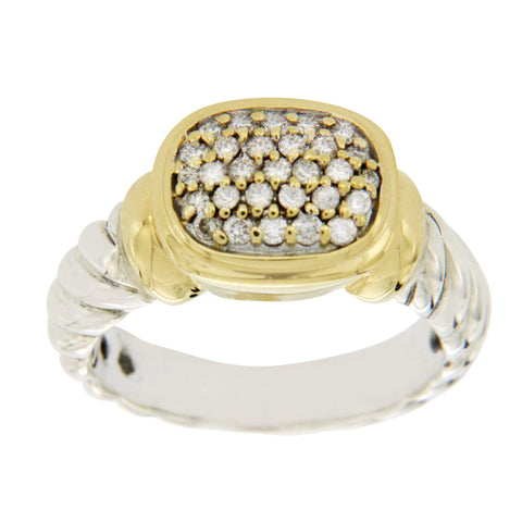 Auth David Yurman 925 Silber & 18K Gold Diamantring Size 5.5 » U219