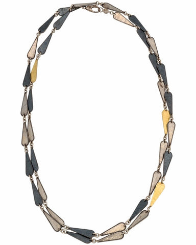 "▌Authentic GURHAN Silver Yellow Gold Contour Long Chain Necklace Size 39""»$1400"