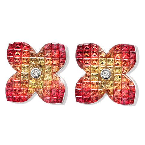 18K Gold Diamonds & Invisible Set 9.86 CT Orange Sapphire Flower Earring »E3228