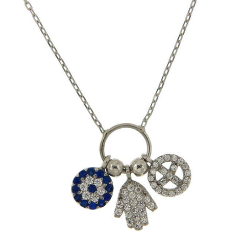 "▌Women's 925 Sterling Silver Evil Eye Hamsa Peace Charms Necklace 16"" to 18 »P61"