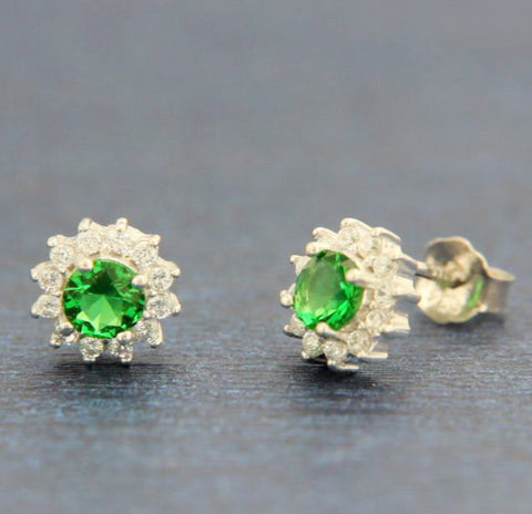 ▌ 925 Sterling Silver Round White & Emerald Green CZ 6.5 MM Stud Earring » E319