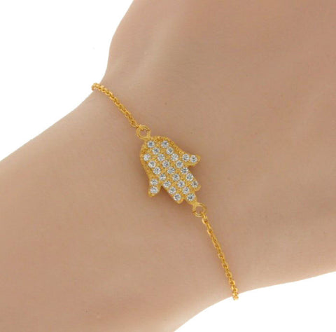 "▌Women's 925 Sterling Silver Yellow Hamsa Hand CZ Bracelet Size 6"" to 7"" »B220"
