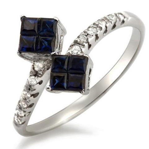 18K White Gold Diamonds and Sapphire Engagement Ring Size 6.5 »N120