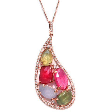 Sliced 7.93 CT Multi Sapphire & 0.55 CT Diamonds 14K Rose Gold Necklace Size 16""