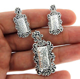 ¦Women's 925 Sterling Silver Hammered Earring Pendant Set ANTIQUE DESIGN » S16