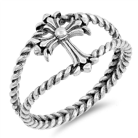 ⭐️ 925 Sterling Silver Plain Open Cross Ring Size 5,6,7,8,9,10 »U83 ⭐️