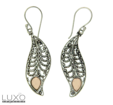 ▌925 Sterling Silver & 18K Gold Accent Bali Drop Dangle Earring »E122