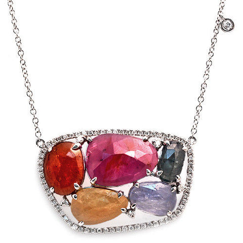 Rose Cut Sliced 12.48 CT Multi Sapphire 0.47 CT Diamonds 14K White Gold Necklace