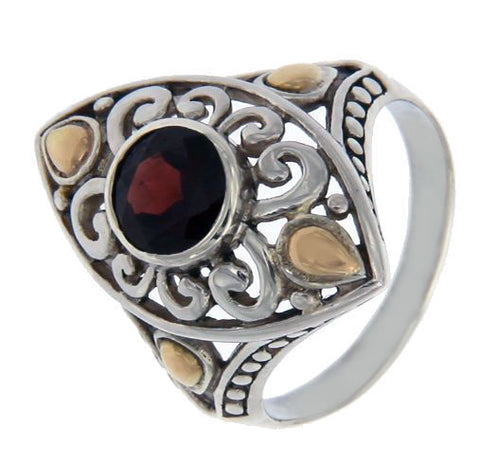 Solid Sterling Silver & 14 K Gold Garnet Die-Cut Ring»R22