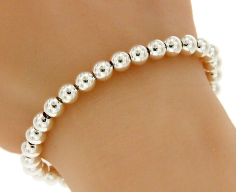 "▌Solid 925 Sterling Sterling 8 MM Ball Beads Italy Bracelet Size 6.3/4"",7"" »B316"