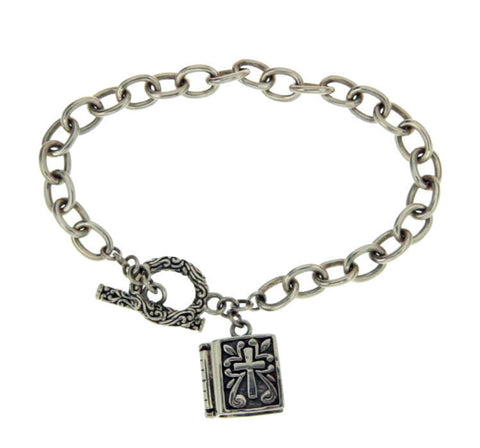 ¦925 Sterling Silver Bali Cross Book Box Prayer Bracelet Size 6.5 » B36