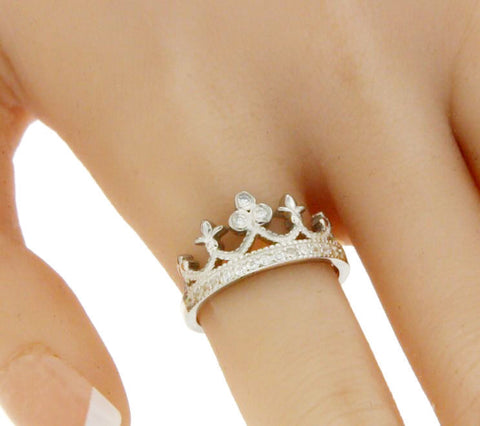▌Women's Beautiful 925 Sterling Silver CZ Crown Ring Size 5,6,7,8,9,10 »R13/1