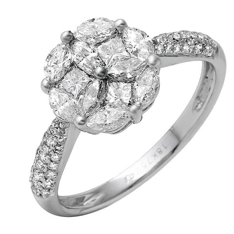 1.14 Ct Diamonds in 18K White Gold Engagement Ring Size 5.5 »N124