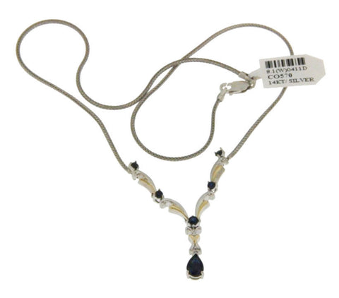 "▌Women's 925 Tow Tone Sterling Silver & 14K Gold Sapphires 17"" Necklace » P615"