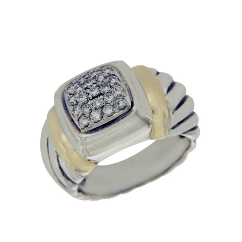 Authentic DAVID YURMAN  925 Silver & 18K Gold Diamond Ring Size 4.5 »U214