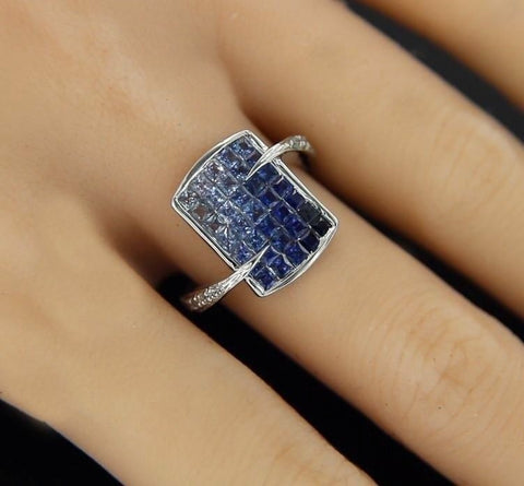 ¦Women's Modern 14k Solid Gold with French Cut Sapphires & Diamonds Ring »GU115