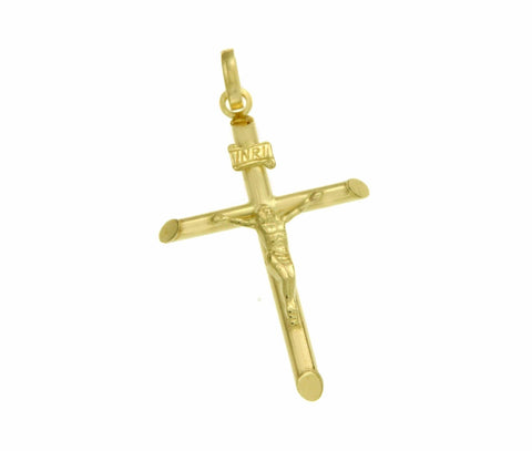 ▌Solid 14k Yellow Gold INRI Latin Jesus Crucifix  42mm Height Cross Pendant »G13