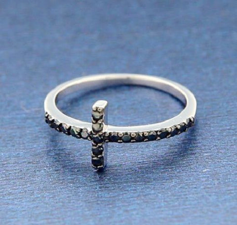 ▌925 Sterling Silver Black CZ Sideways CROSS Ring Size 4,5,6,7,8,9,10 » R82