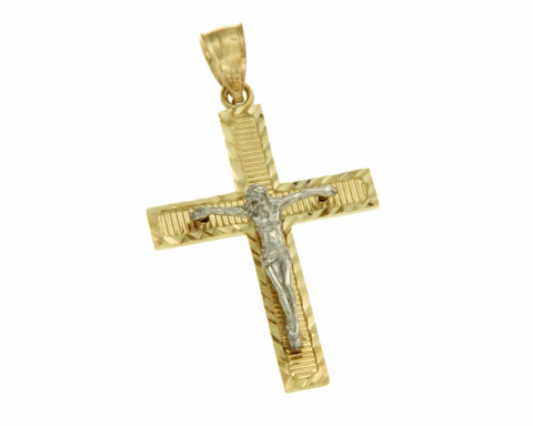Real 14k TwoTone Gold Jesus Crucifix 39 mm Height Diamond Cut Cross Pendant »G12