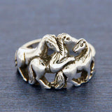 925 Sterling Silver Three Horse Family Friends Promise Ring Size 4-12»105