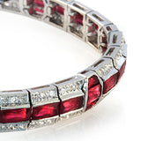 15.52 CT Natural Ruby & 0.77 CT Diamonds 18K White Gold Bracelet 7""